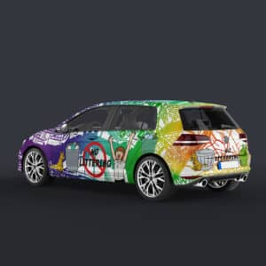 drawing raindow colorful community anti litter campaign car youth kids student high school middle school branding zipcar graphic design