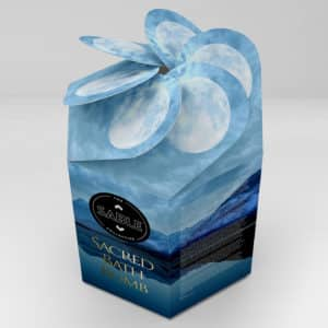 graphic designer sacred bath bomb packaging nature moon peaceful water graphic design agency product