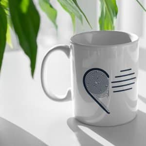 jacques heart simplified simple logo cup mug product company graphic design agency mockup