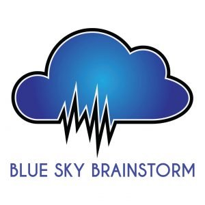 blue sky logo design development branding podcast informative entertaining discussion smart listen life agency philadelphia designer graphic illustration