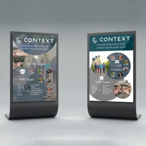 context travel marketing materials graphic design tradeshow booth network table top banner image information mockup