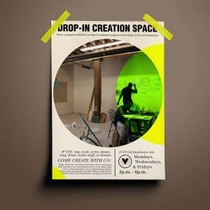 create spaces earth tone flyer neon green yellow mockup the village non profit artistic expression youth studio space event banner happening