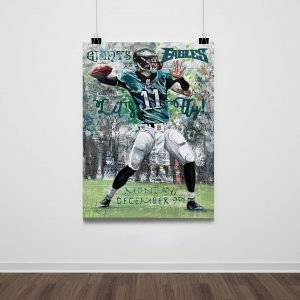 eagles philly football game day flyer vs against ny giants lincoln financial fiels carson wentz art jersey 11 viral social media print poster copies signed