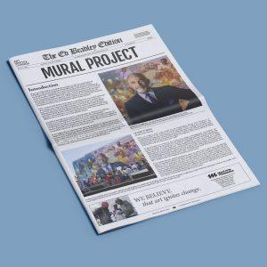 ed bradley mural arts program newspaper layout print catalogue advertisement cathy harris kevin brown peoples neighborhood