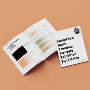 kcaah style guide mockup kentucky center for african american culture art exhibition color code palette primary secondary book page mockup noah smalls museum services