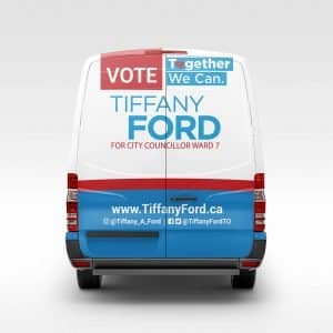 tiffany ford back of van volunteers campaigning canvasing toronto canada print design ford global group