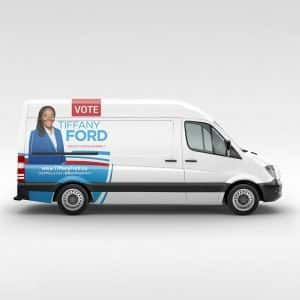 tiffany ford campaign van car wrap vynal vinal graphic design agency political politics marketing materials