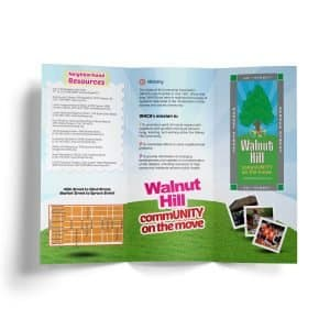 walnut hill community associaltion membership brochure volunteer neighbors businesses west philadelphia resource information volunteers standards saftey beauty pride education recreation