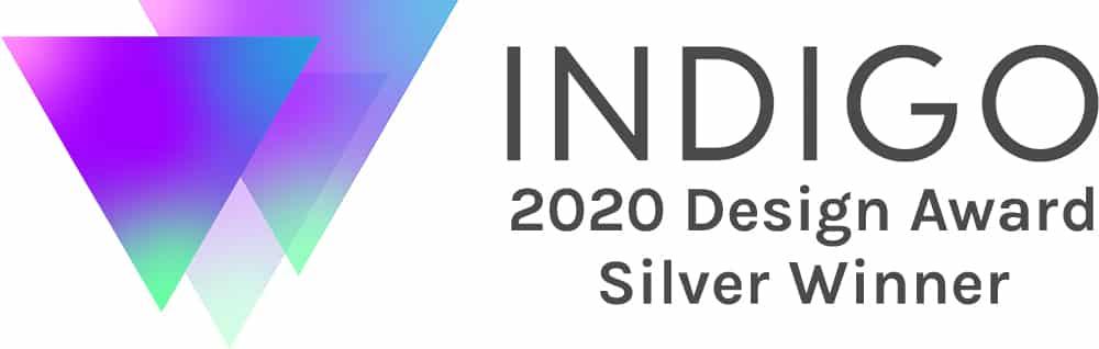 custom indigo design award 2020 silver winner creative repute winning graphic design agency nile livingston branding graphic colorful purple badge