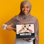evoluer house yellow background computer cluer full screen muslim brown color diverse young woman stylish fashion flyer illustration vector design agency philadelphia