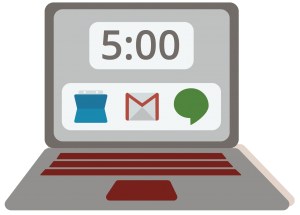 A framed graphic showing a laptop, with the time reading 5 o'clock, and the icons for Google Calendar, Gmail, and Google Hangouts on the screen.