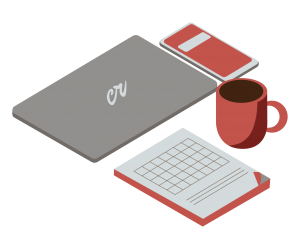 A framed graphic showing a coffee cup, phone, planner, and laptop with the Creative Repute logo laid ou
