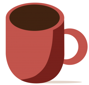 A framed graphic showing a cup of coffee,