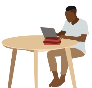 A framed graphic depicting a Black person with a flat top haircut sitting at a round table, working on their laptop.