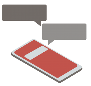 A framed graphic showing a cell phone with two message bubbles floating over it