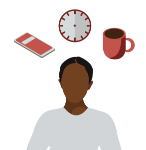 A framed graphic depicting a Black femme with a phone, a clock, and a coffee cup floating over their head, as options.
