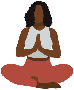 A framed graphic depicting a Black femme in a seated yoga position, meditating