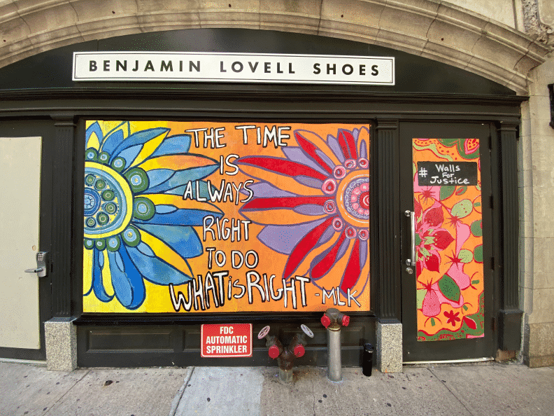 walls for justice mural arts activist interview creative repute community philadelphia black lives matter martin luther king mlk quote benjamin lovell shoes the time is right