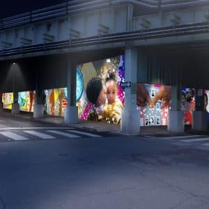 north philly crosswalk intersection train underpass viaduct graphic design mural artists philly