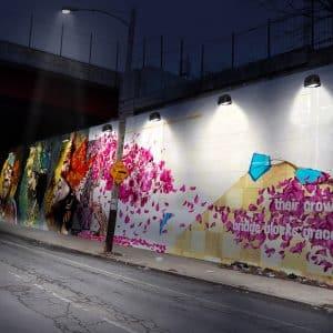 how will lights look at night public art mural rendering mockup illuminate intensity lighting plan exhibition design