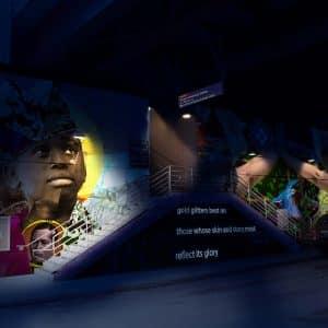 glow dark lighting mockup rendering planning dark walkway septa train station photography photo photoshop